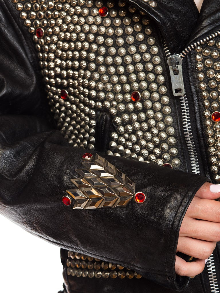 Leather Biker Jacket Covered in Studs & Crystals For Sale 10