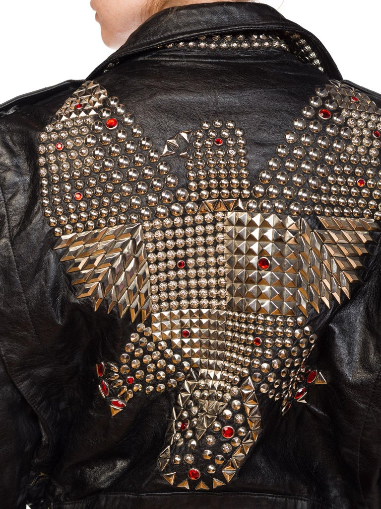 Leather Biker Jacket Covered in Studs & Crystals For Sale 11