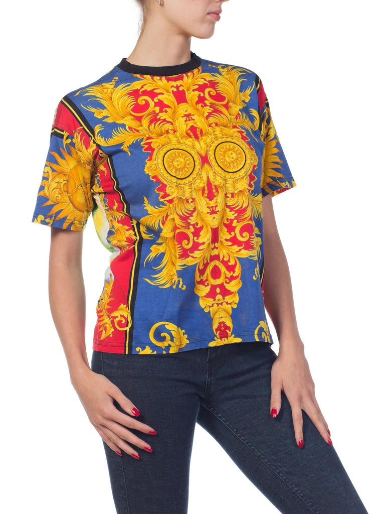 6d5444c294b6 Women s or Men s 1990s Versace Jeans Couture Miami Collection Baroque  T-shirt For Sale
