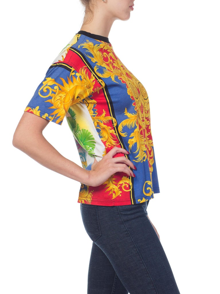 e56052d98c6b 1990s Versace Jeans Couture Miami Collection Baroque T-shirt For Sale 2