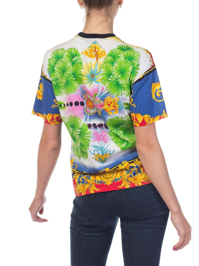 431b8934be23 1990s Versace Jeans Couture Miami Collection Baroque T-shirt For Sale 4