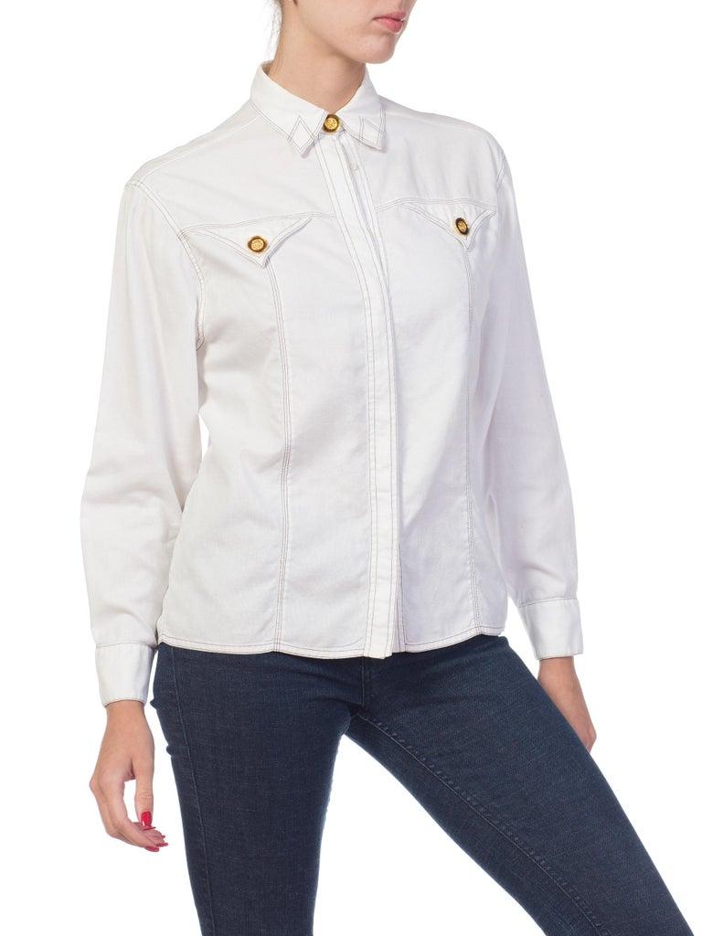 Women's 1990s Gianni Versace Couture White Cotton Medusa Button Shirt For Sale