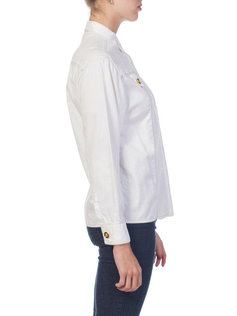 1990s Gianni Versace Couture White Cotton Medusa Button Shirt For Sale 1