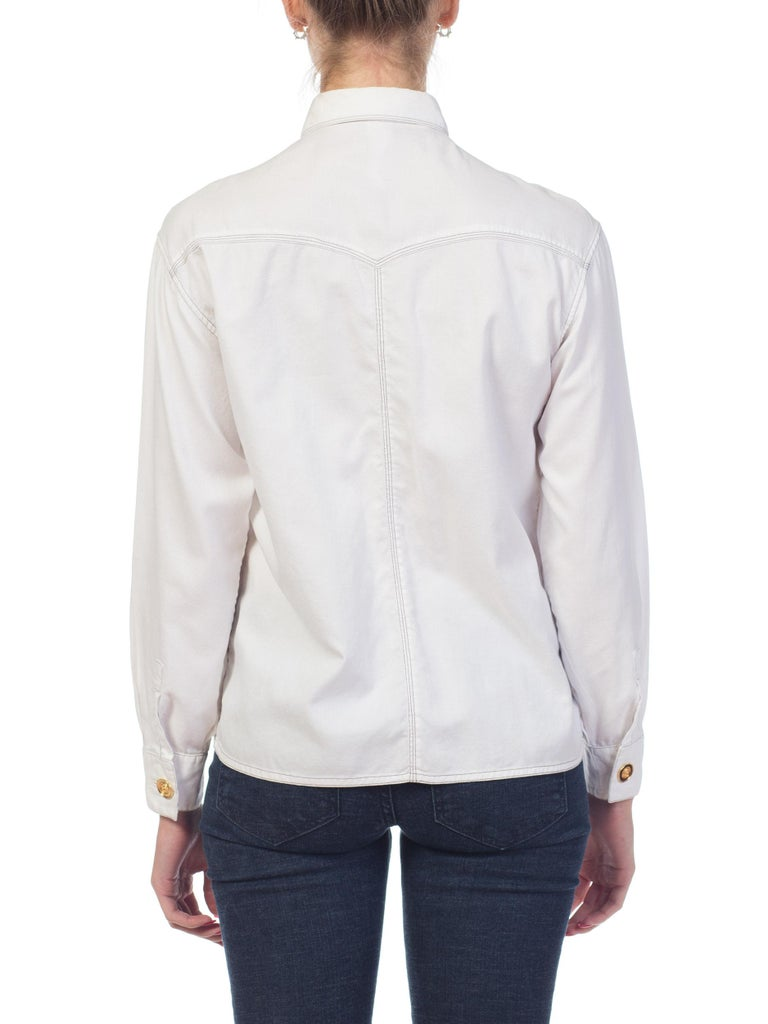 1990s Gianni Versace Couture White Cotton Medusa Button Shirt For Sale 2