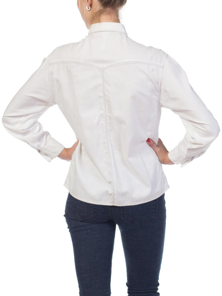 1990s Gianni Versace Couture White Cotton Medusa Button Shirt For Sale 3