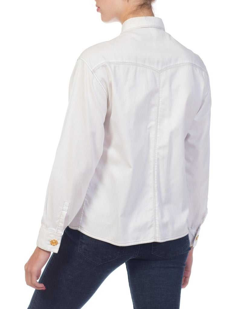 1990s Gianni Versace Couture White Cotton Medusa Button Shirt For Sale 4