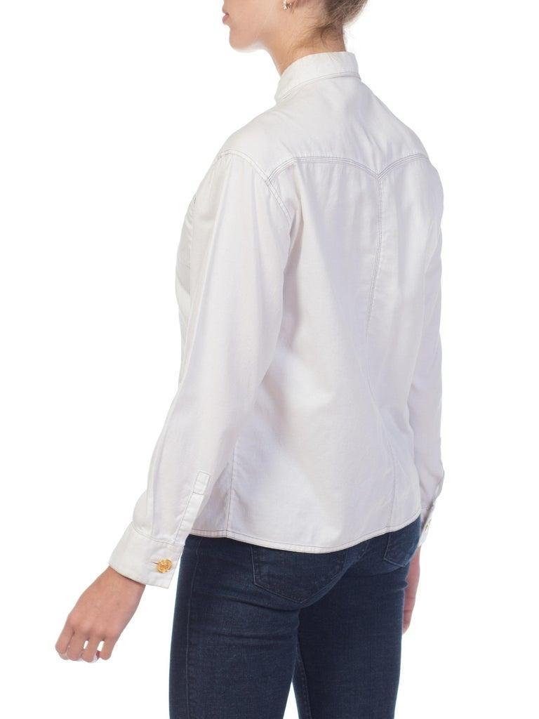 1990s Gianni Versace Couture White Cotton Medusa Button Shirt For Sale 5