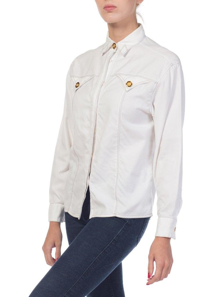 1990s Gianni Versace Couture White Cotton Medusa Button Shirt For Sale 6