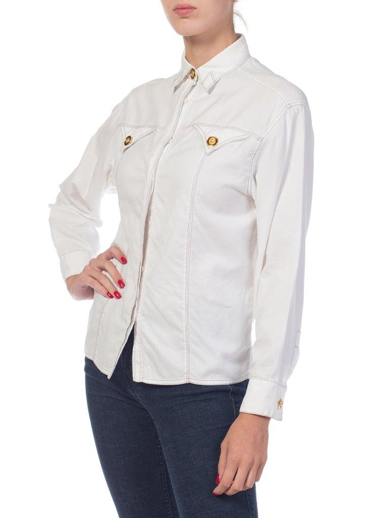 1990s Gianni Versace Couture White Cotton Medusa Button Shirt For Sale 7