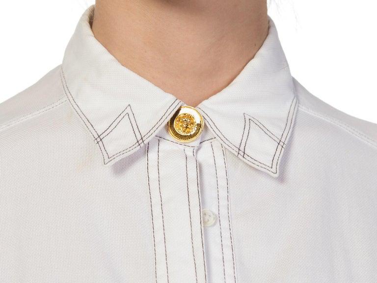 1990s Gianni Versace Couture White Cotton Medusa Button Shirt For Sale 9