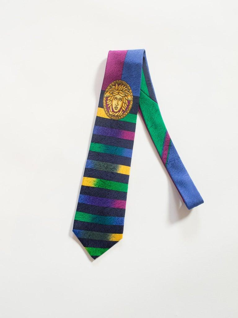 1990s Gianni Versace Gold Medusa Silk Tie For Sale 1