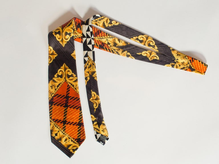 1990s Gianni Versace Baroque & Plaid Printed Silk Tie For Sale 1