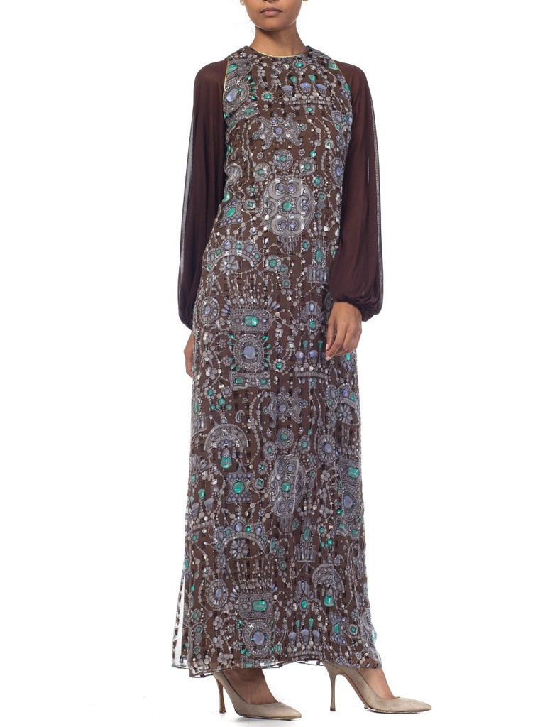 Silk and Metallic Lurex Chiffon Boho Maxi Dress In Excellent Condition For Sale In New York, NY