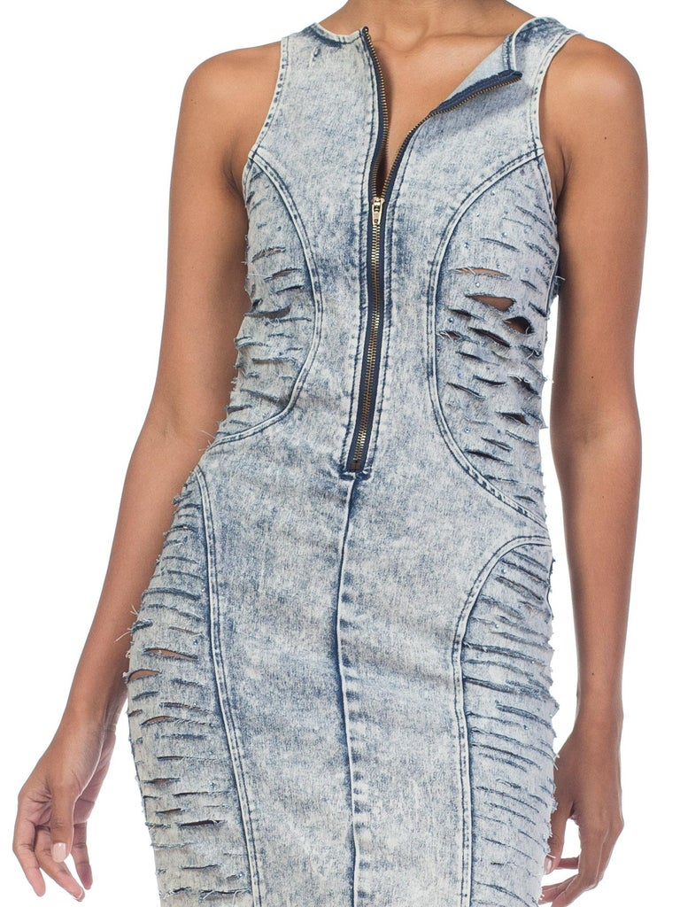 Tight Bleached Denim Dress with Crystals, 1980s  In Excellent Condition For Sale In New York, NY