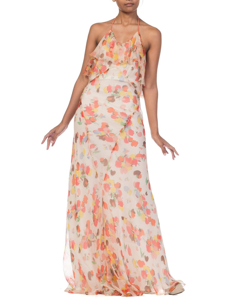 Women's Backless Bias Cut Floral Silk-Lined Chiffon Coral Beaded Dress, 1930s For Sale