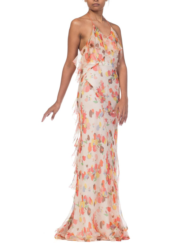 Backless Bias Cut Floral Silk-Lined Chiffon Coral Beaded Dress, 1930s For Sale 1