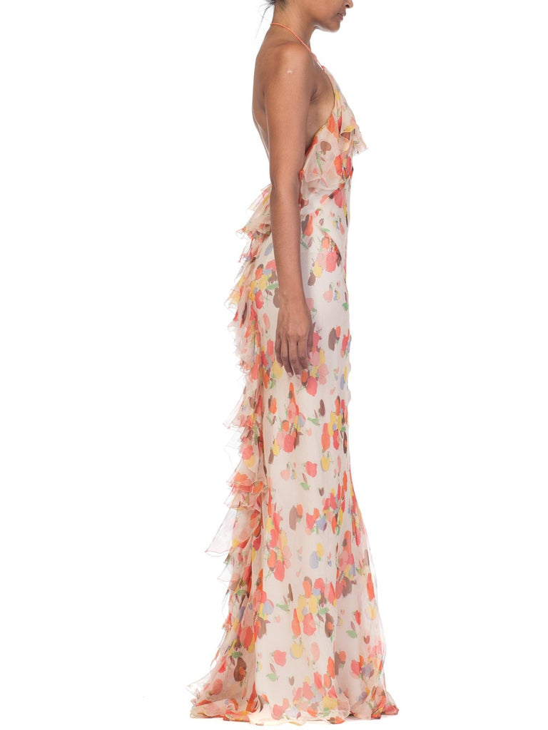 Backless Bias Cut Floral Silk-Lined Chiffon Coral Beaded Dress, 1930s For Sale 2