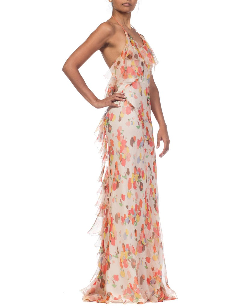 Backless Bias Cut Floral Silk-Lined Chiffon Coral Beaded Dress, 1930s For Sale 3