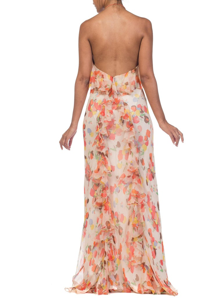 Backless Bias Cut Floral Silk-Lined Chiffon Coral Beaded Dress, 1930s For Sale 4