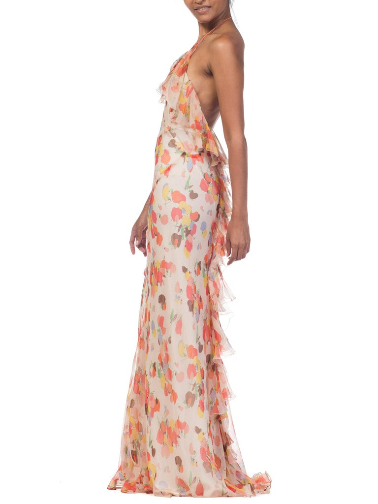 Backless Bias Cut Floral Silk-Lined Chiffon Coral Beaded Dress, 1930s For Sale 6