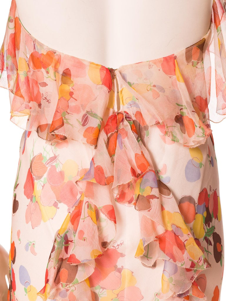 Backless Bias Cut Floral Silk-Lined Chiffon Coral Beaded Dress, 1930s For Sale 7