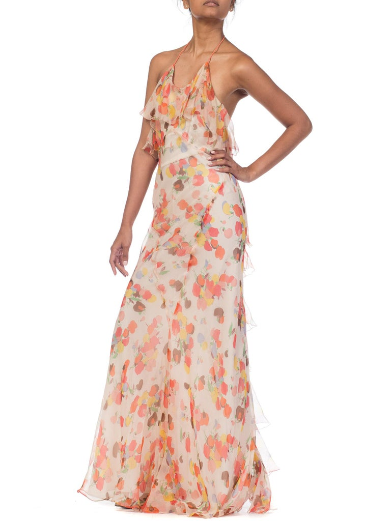 Backless Bias Cut Floral Silk-Lined Chiffon Coral Beaded Dress, 1930s For Sale 8