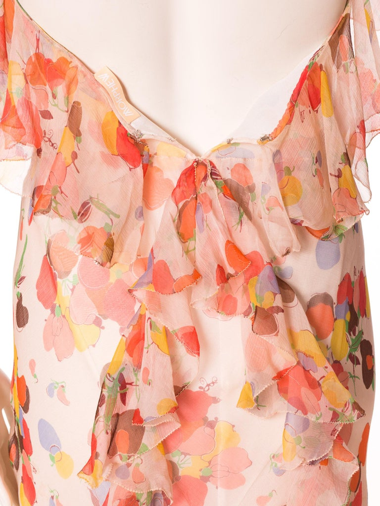 Backless Bias Cut Floral Silk-Lined Chiffon Coral Beaded Dress, 1930s For Sale 9