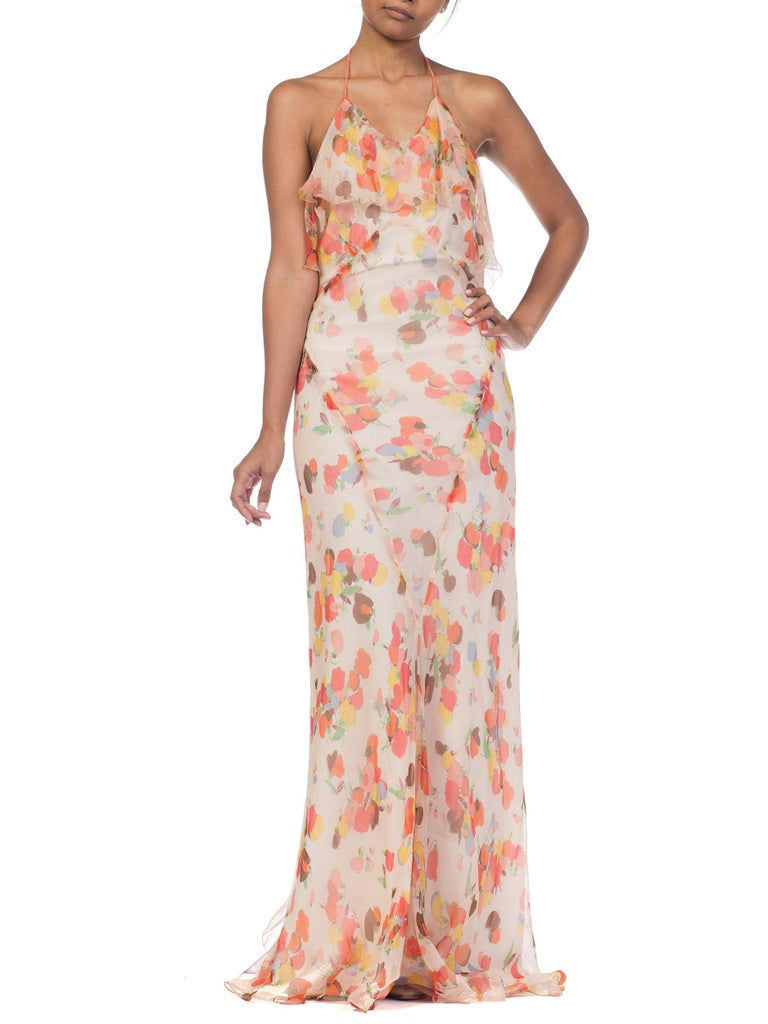 Backless Bias Cut Floral Silk-Lined Chiffon Coral Beaded Dress, 1930s For Sale 11