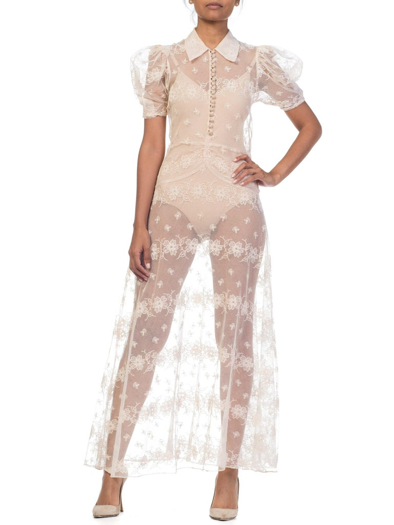 Beige 1930s Sheer Lace Net Dress With Floral Embroidery  For Sale