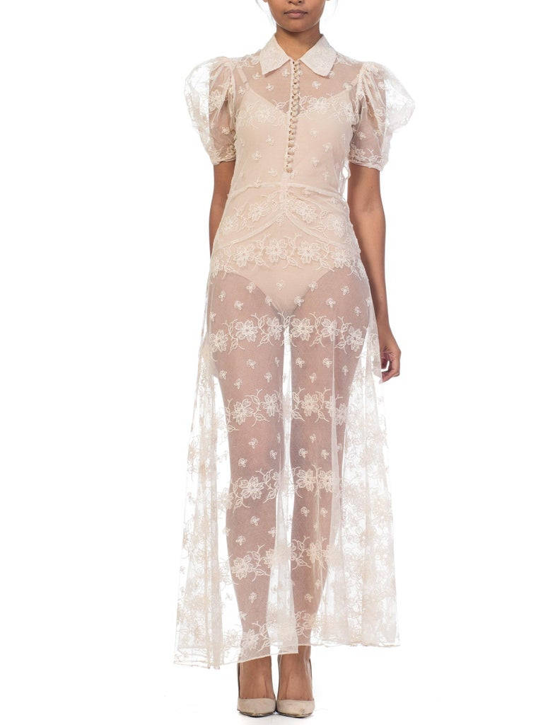 Women's 1930s Sheer Lace Net Dress With Floral Embroidery  For Sale