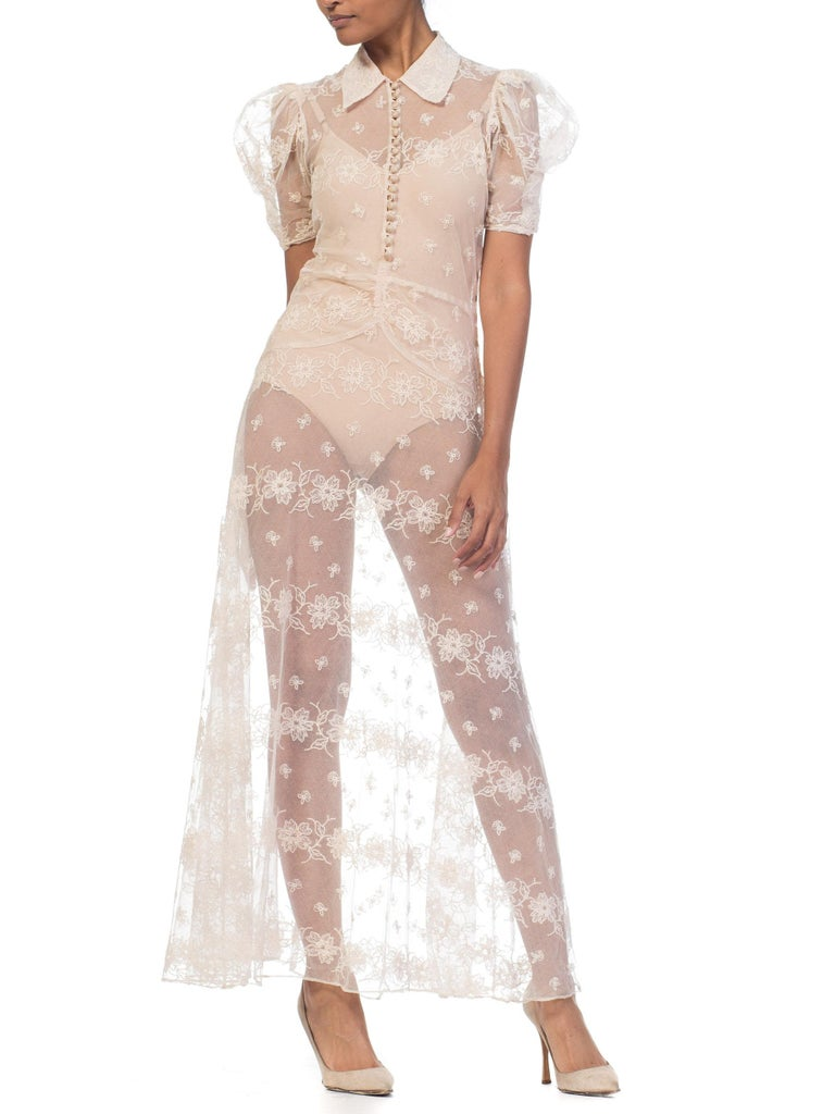 1930s Sheer Lace Net Dress With Floral Embroidery  For Sale 1