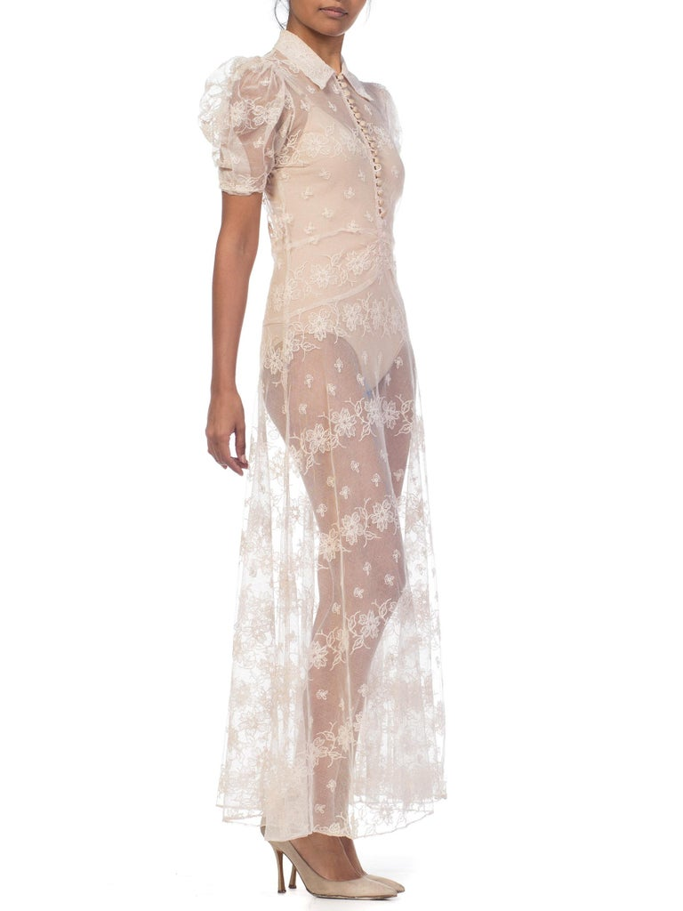 1930s Sheer Lace Net Dress With Floral Embroidery  For Sale 2