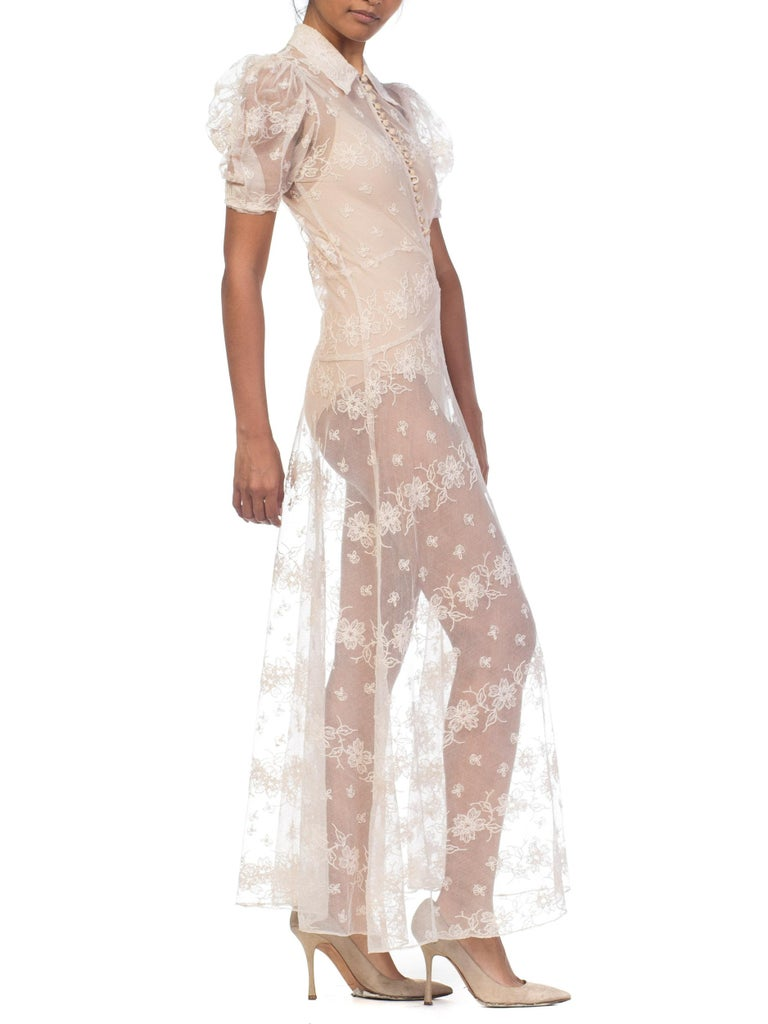 1930s Sheer Lace Net Dress With Floral Embroidery  For Sale 5