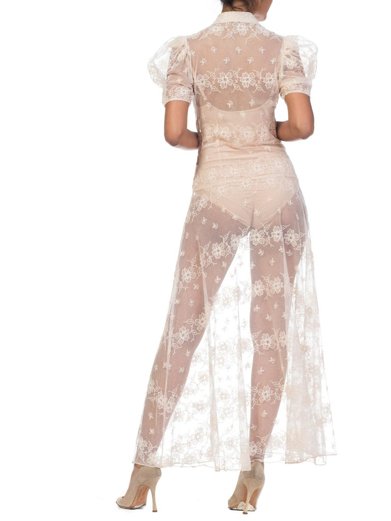 1930s Sheer Lace Net Dress With Floral Embroidery  For Sale 6