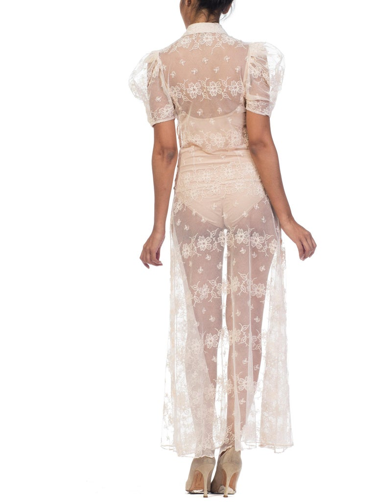 1930s Sheer Lace Net Dress With Floral Embroidery  For Sale 7