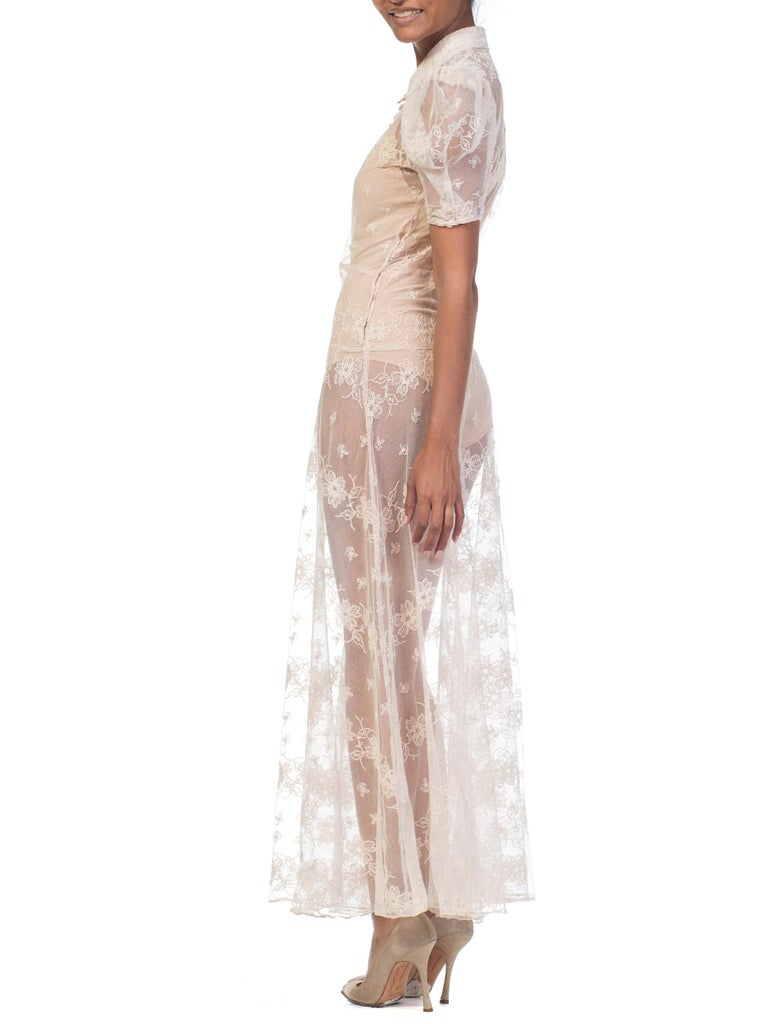 1930s Sheer Lace Net Dress With Floral Embroidery  For Sale 9