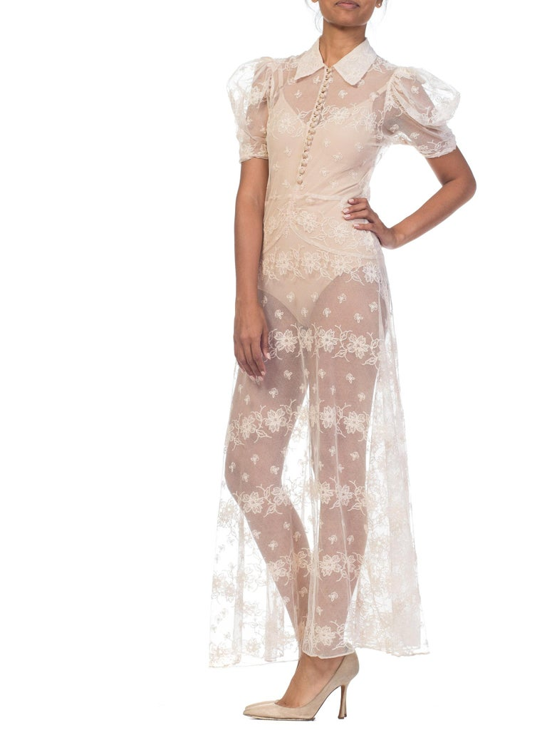 1930s Sheer Lace Net Dress With Floral Embroidery  For Sale 11
