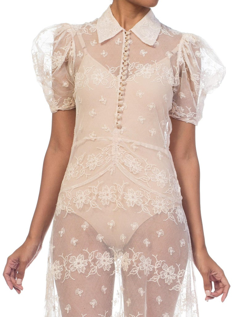 1930s Sheer Lace Net Dress With Floral Embroidery  For Sale 13