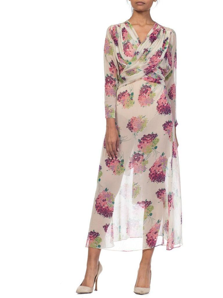 Beige Sheer Silk 1920s Floral Chiffon Dress For Sale