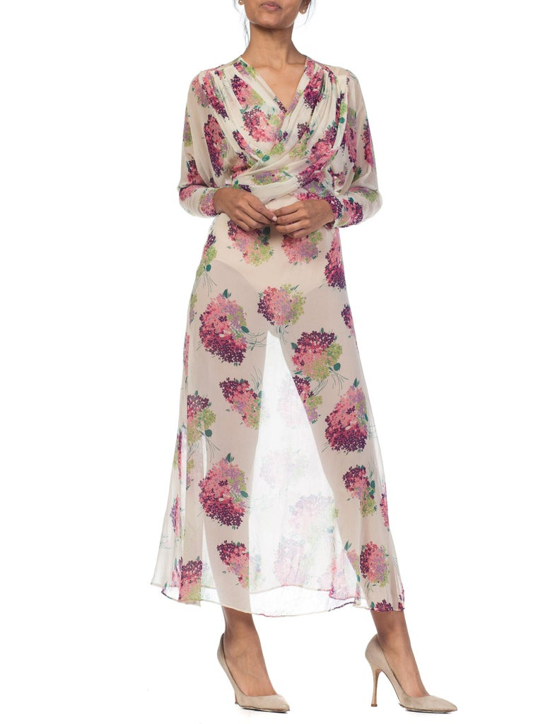 Sheer Silk 1920s Floral Chiffon Dress In Excellent Condition For Sale In New York, NY