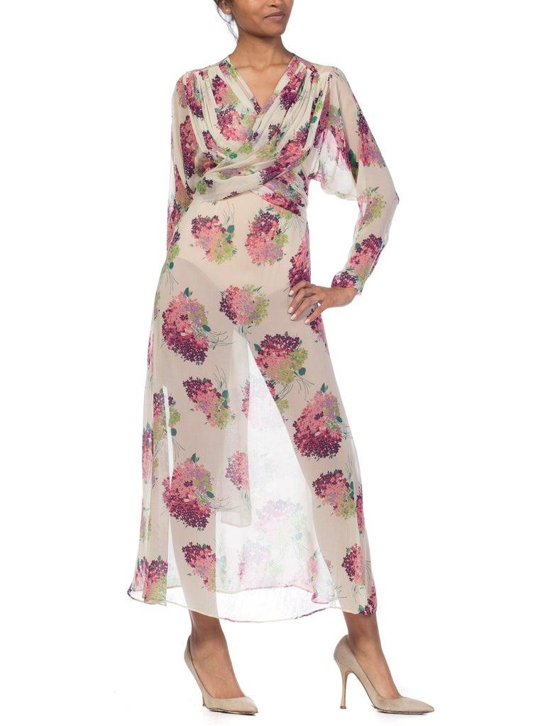 Women's Sheer Silk 1920s Floral Chiffon Dress For Sale