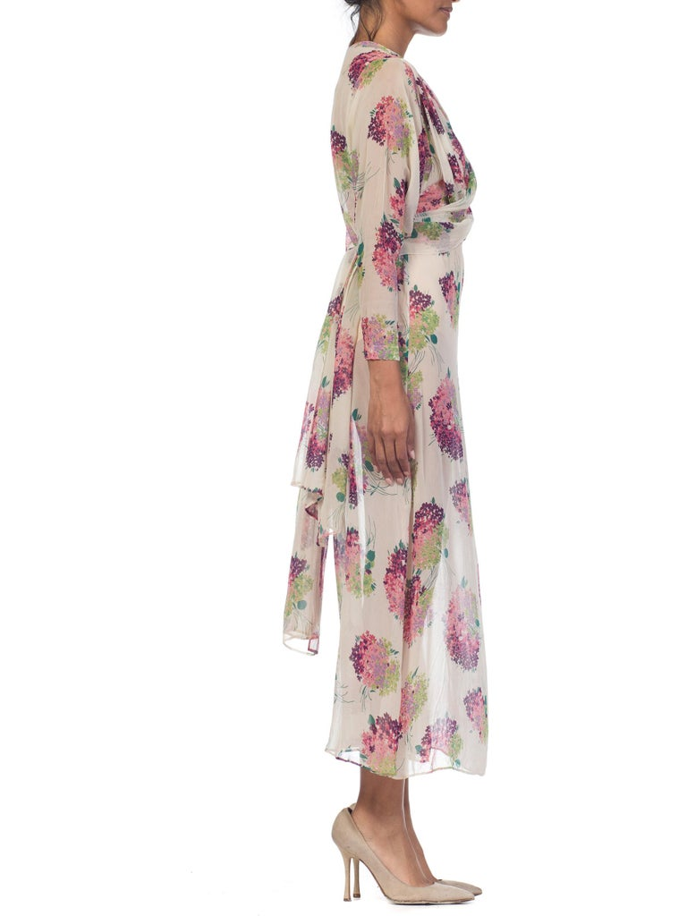 Sheer Silk 1920s Floral Chiffon Dress For Sale 1