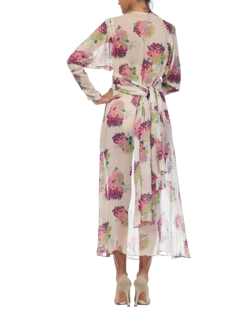 Sheer Silk 1920s Floral Chiffon Dress For Sale 2