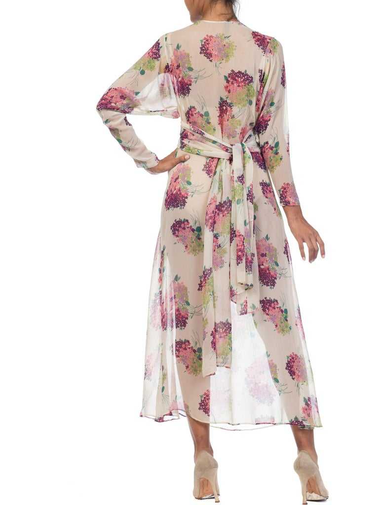 Sheer Silk 1920s Floral Chiffon Dress For Sale 3