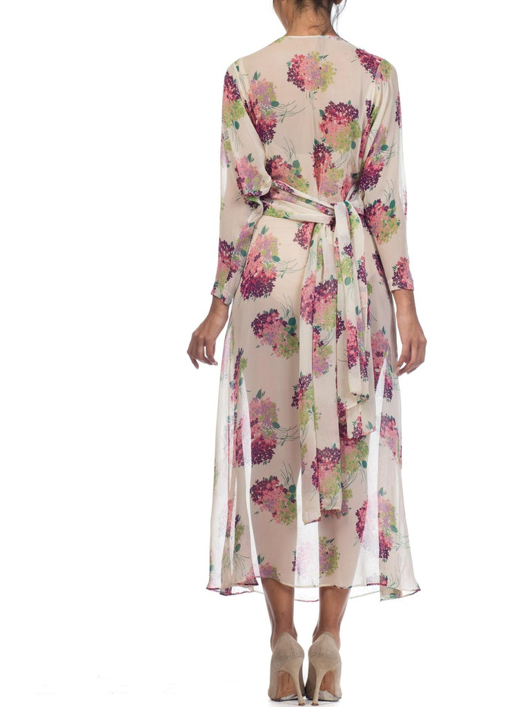 Sheer Silk 1920s Floral Chiffon Dress For Sale 4