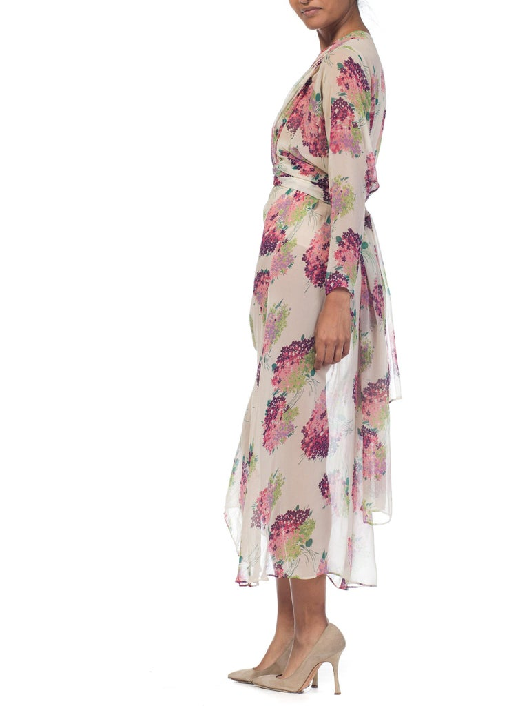 Sheer Silk 1920s Floral Chiffon Dress For Sale 5