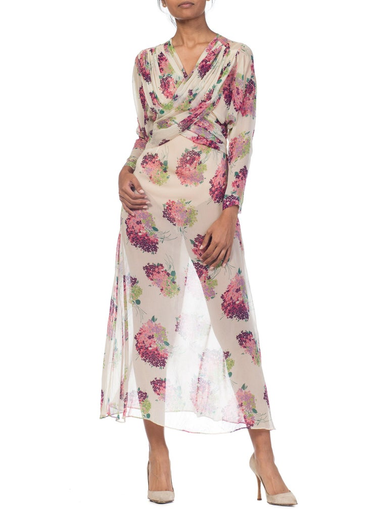 Sheer Silk 1920s Floral Chiffon Dress For Sale 7