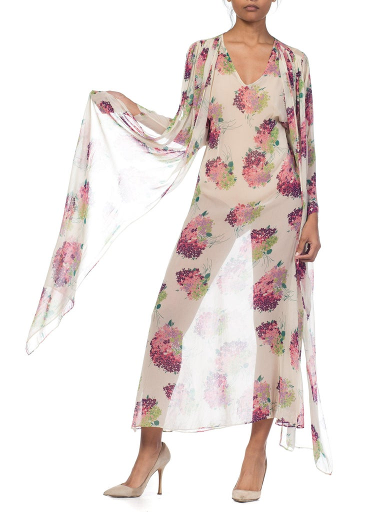 Sheer Silk 1920s Floral Chiffon Dress For Sale 8