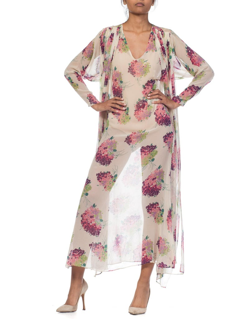 Sheer Silk 1920s Floral Chiffon Dress For Sale 9