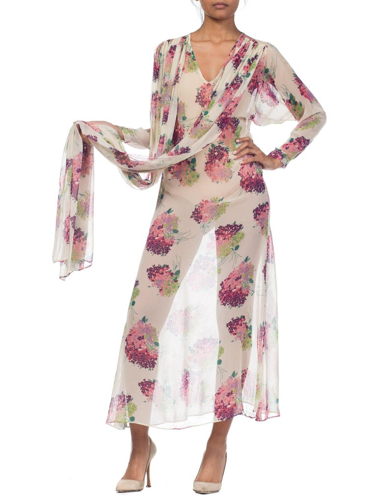 Sheer Silk 1920s Floral Chiffon Dress For Sale 10